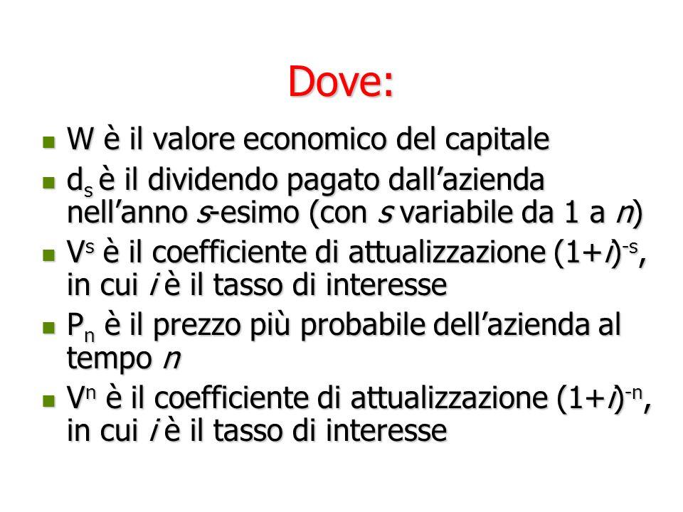 Dove: W è il valore economico del capitale
