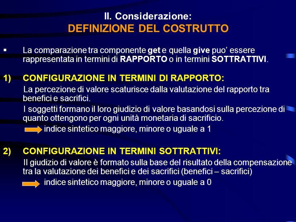 II. Considerazione: DEFINIZIONE DEL COSTRUTTO