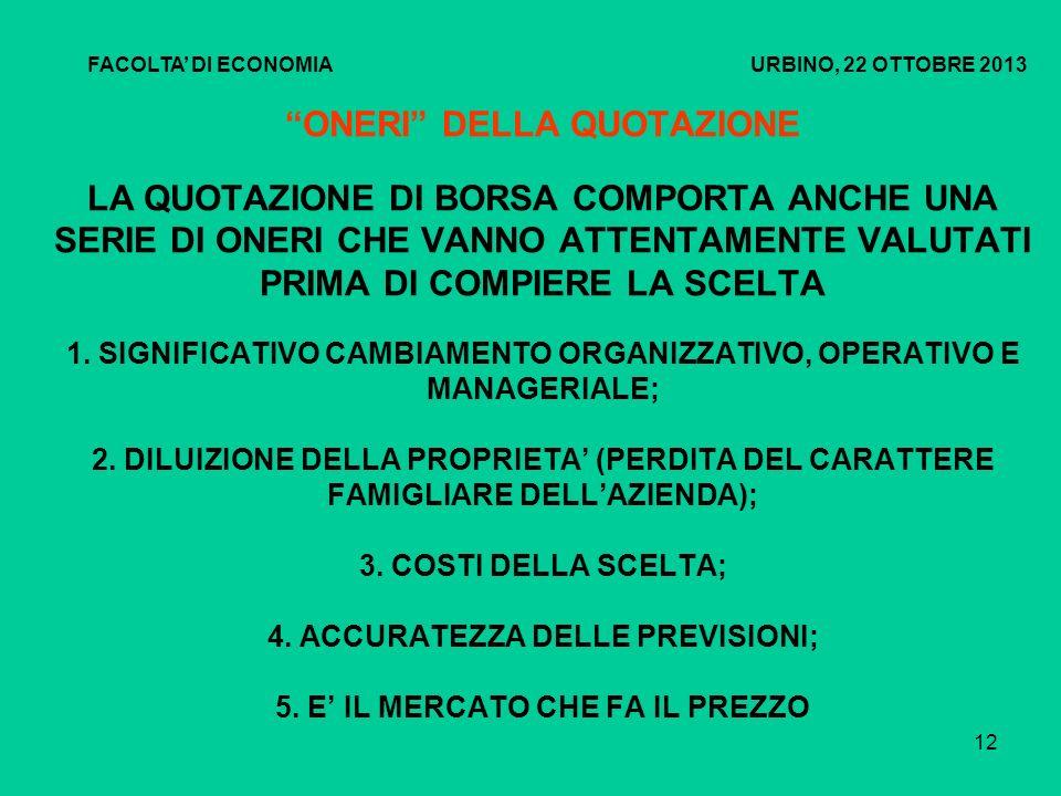 FACOLTA' DI ECONOMIA URBINO, 22 OTTOBRE 2013.