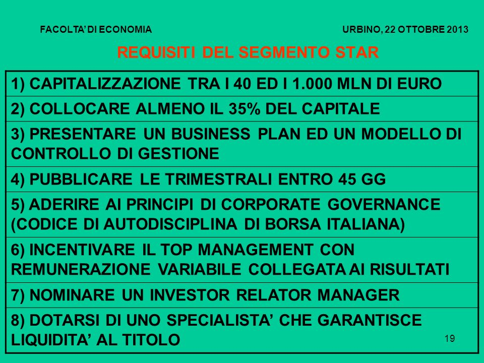 REQUISITI DEL SEGMENTO STAR