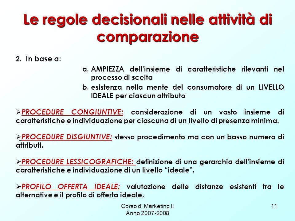 Le regole decisionali nelle attività di comparazione