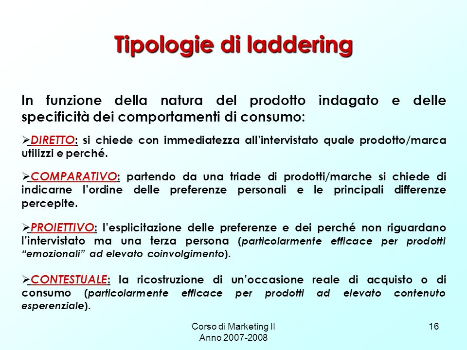 Tipologie di laddering