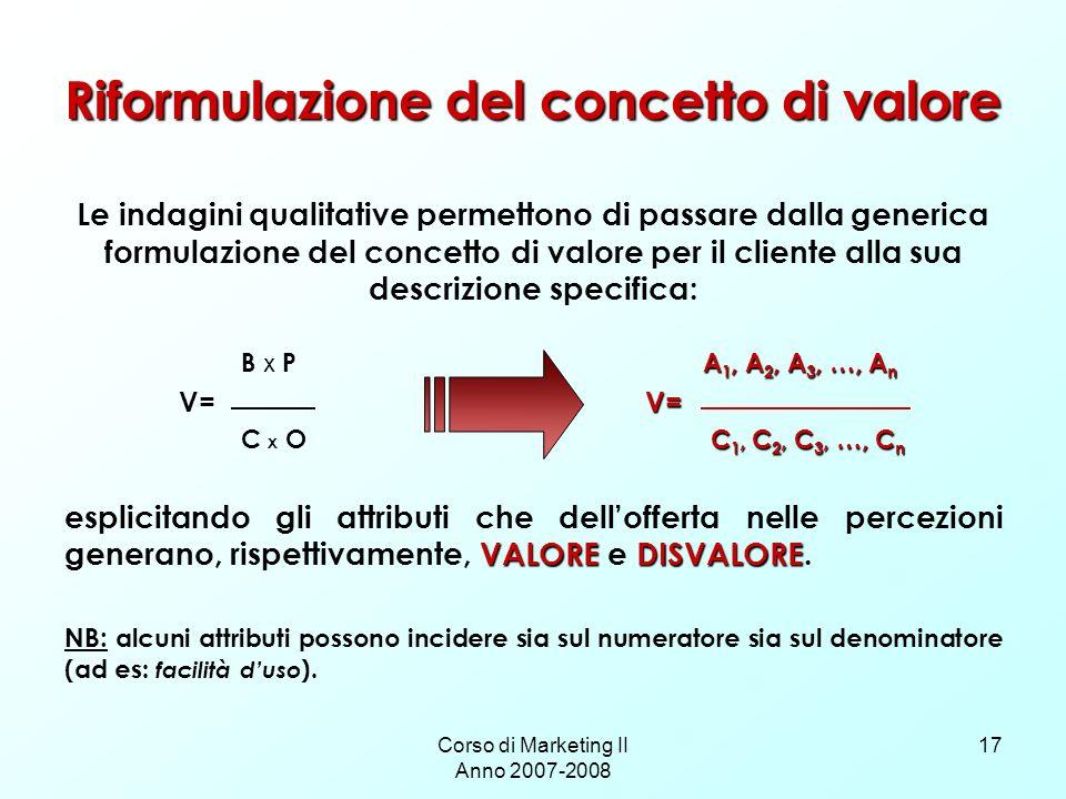 Riformulazione del concetto di valore