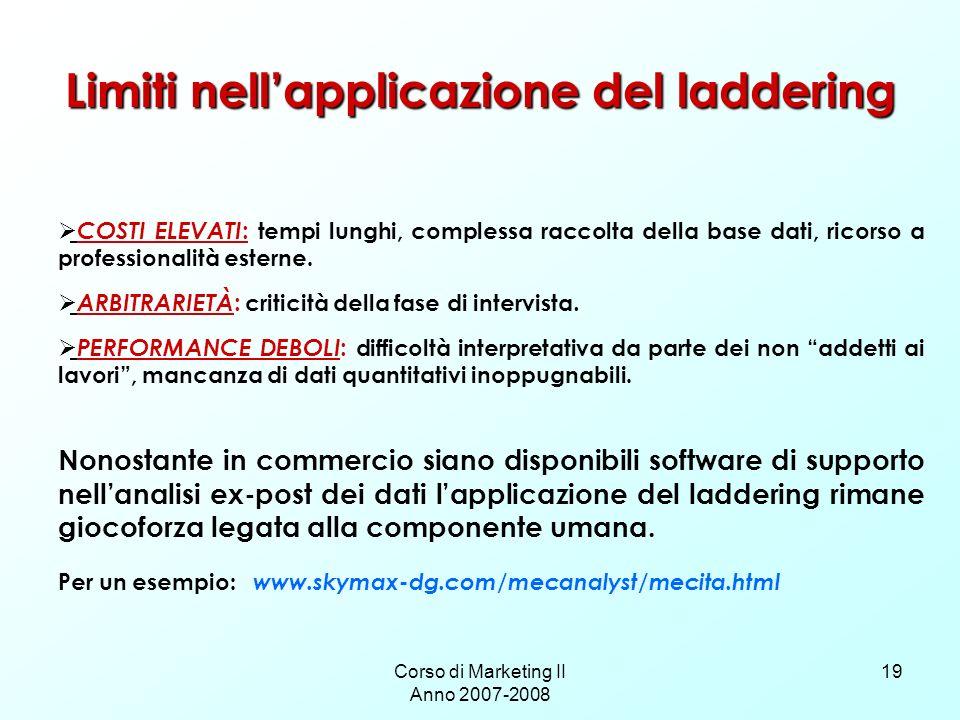 Limiti nell'applicazione del laddering