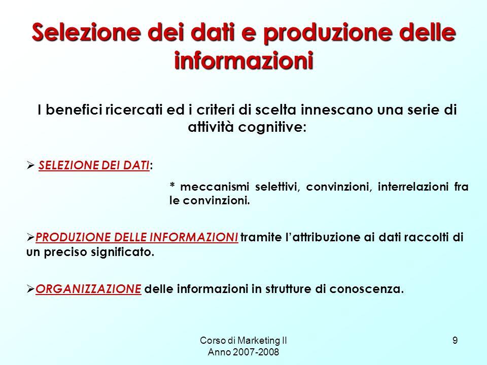 Selezione dei dati e produzione delle informazioni