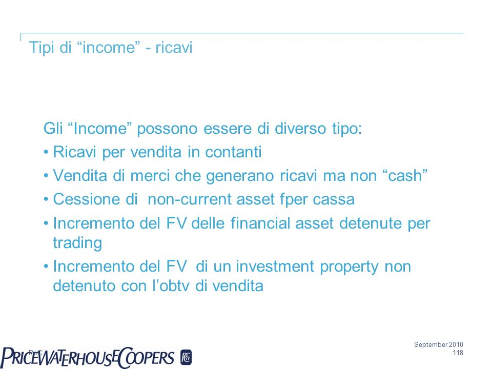 Tipi di income - ricavi