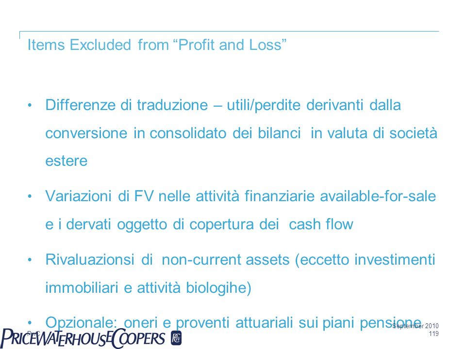 Items Excluded from Profit and Loss