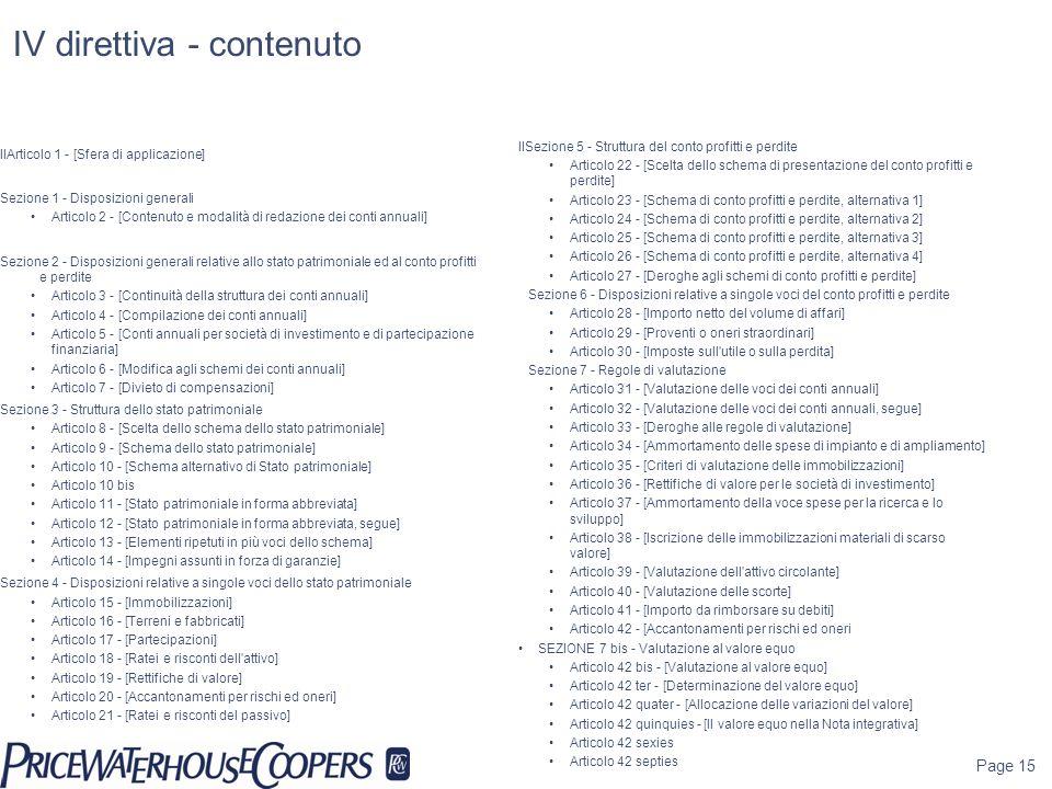 IV direttiva - contenuto