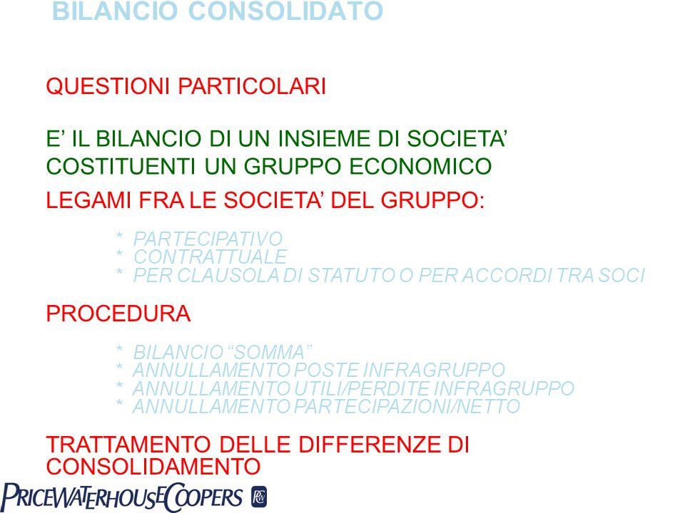 BILANCIO CONSOLIDATO QUESTIONI PARTICOLARI