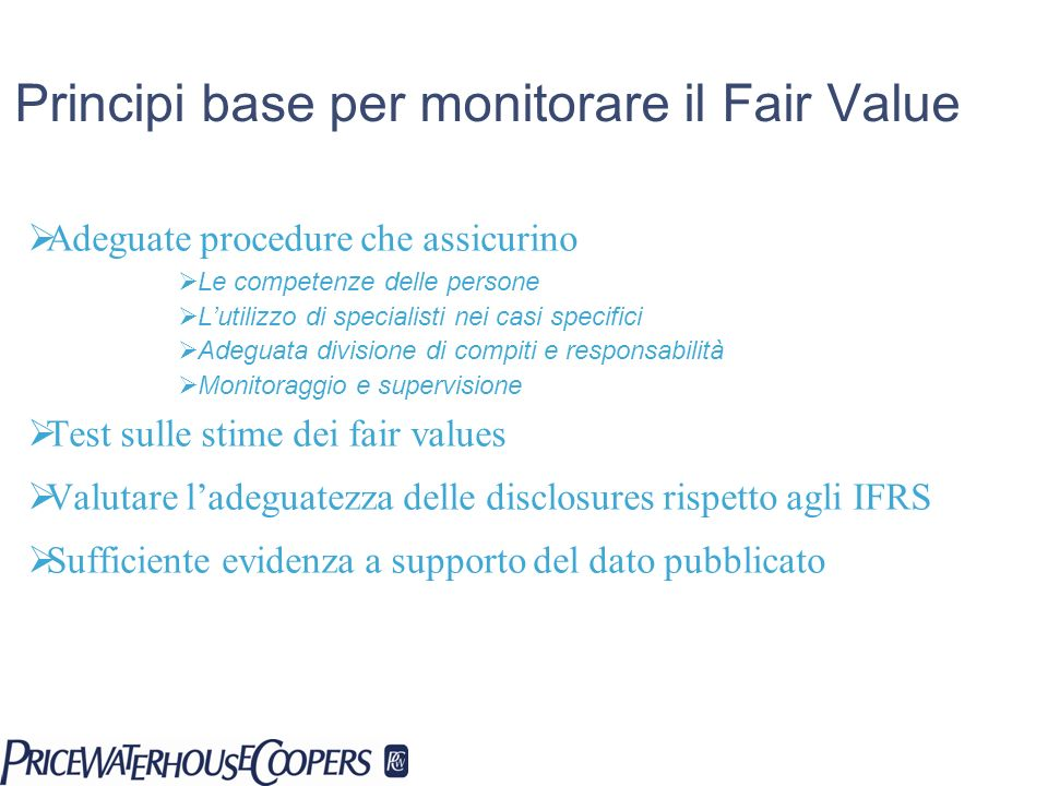 Principi base per monitorare il Fair Value