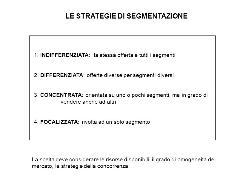 LE STRATEGIE DI SEGMENTAZIONE
