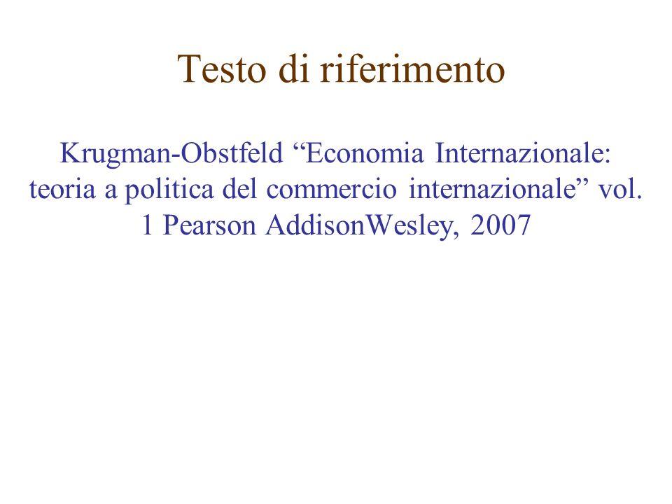 Testo di riferimentoKrugman-Obstfeld Economia Internazionale: teoria a politica del commercio internazionale vol.