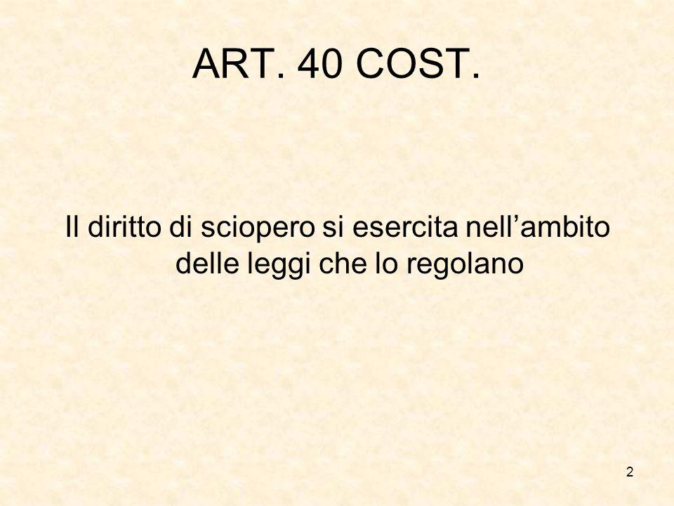 ART. 40 COST. Il diritto di sciopero si esercita nell'ambito delle leggi che lo regolano