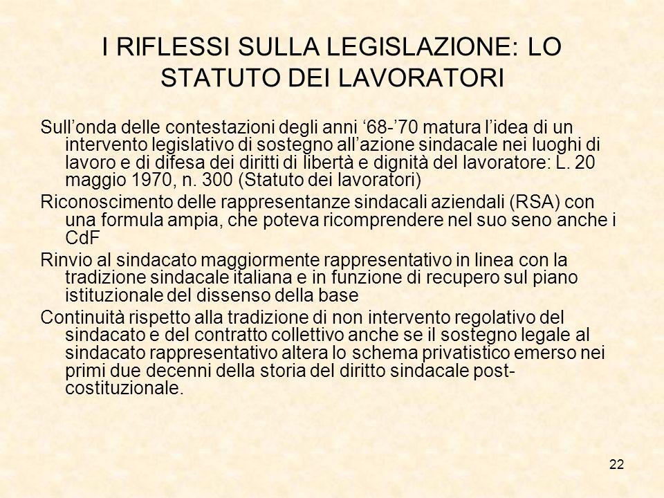I RIFLESSI SULLA LEGISLAZIONE: LO STATUTO DEI LAVORATORI