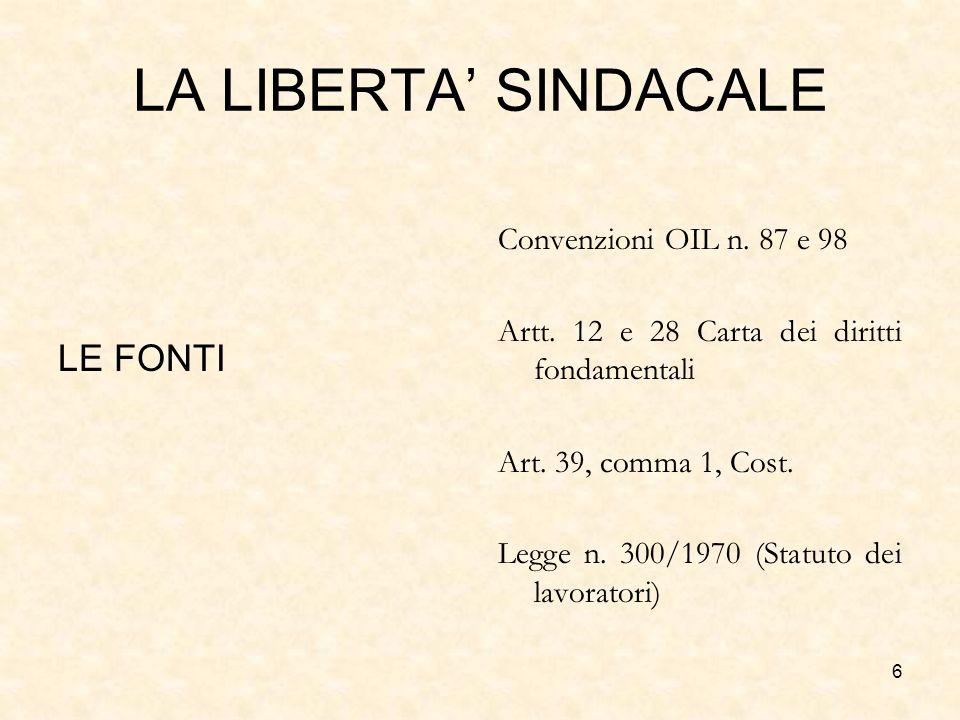 LA LIBERTA' SINDACALE LE FONTI Convenzioni OIL n. 87 e 98