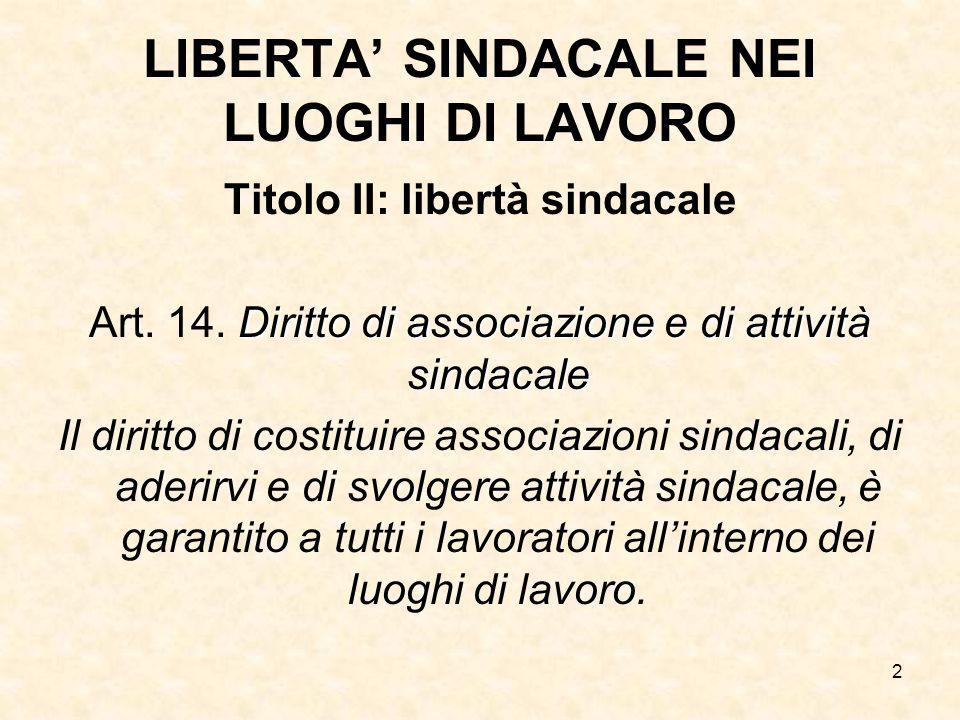 LIBERTA' SINDACALE NEI LUOGHI DI LAVORO