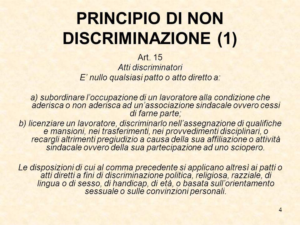 PRINCIPIO DI NON DISCRIMINAZIONE (1)