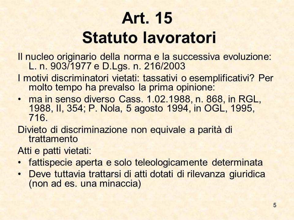 Art. 15 Statuto lavoratori