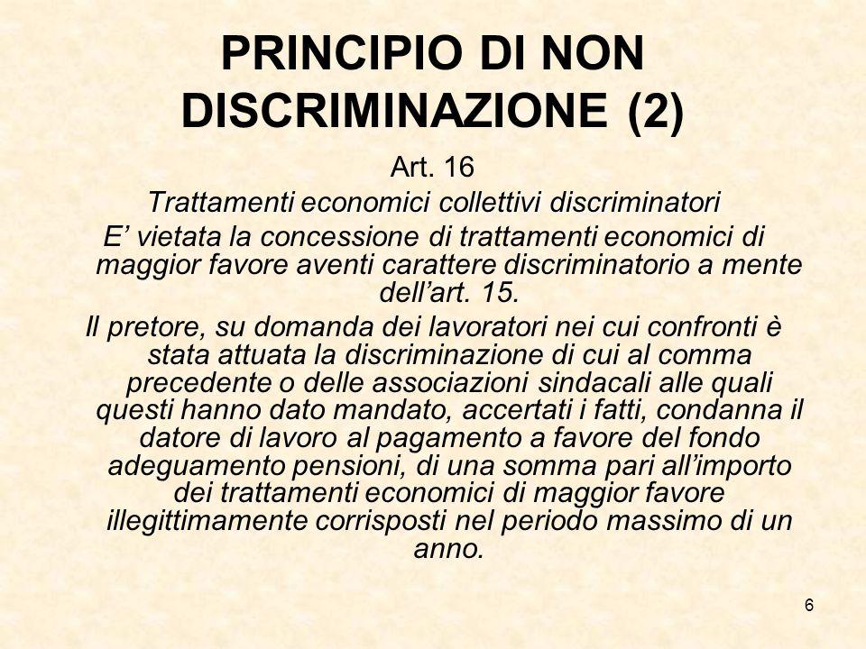 PRINCIPIO DI NON DISCRIMINAZIONE (2)