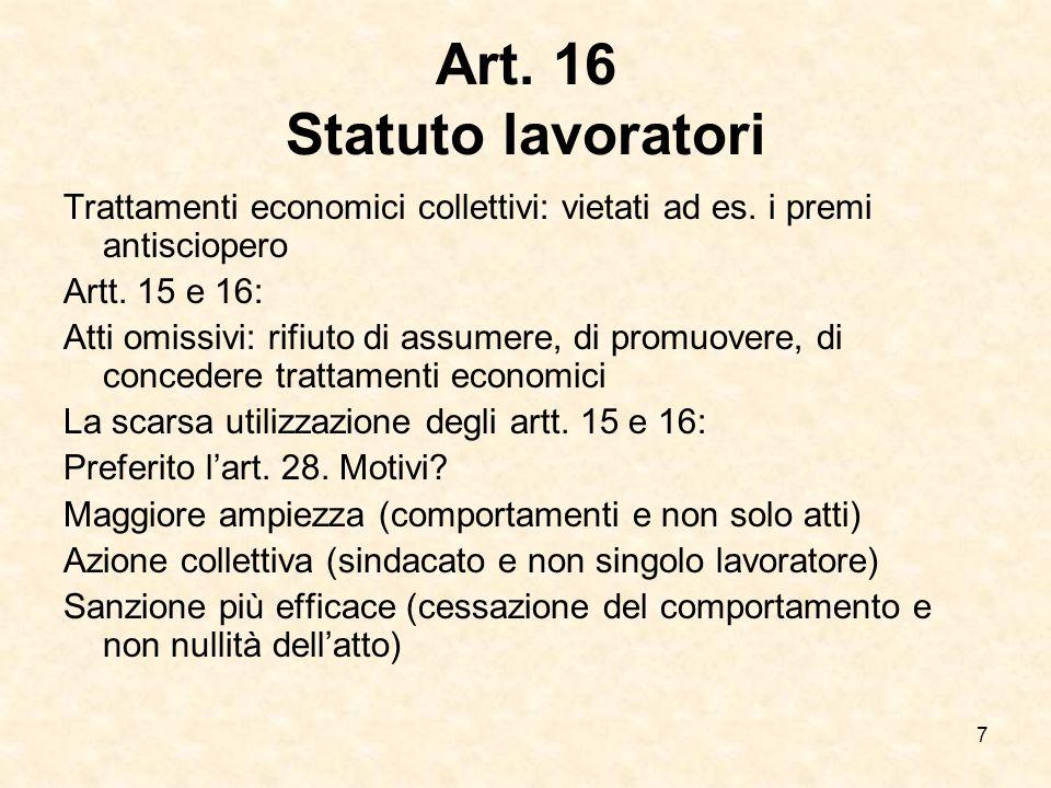 Art. 16 Statuto lavoratori