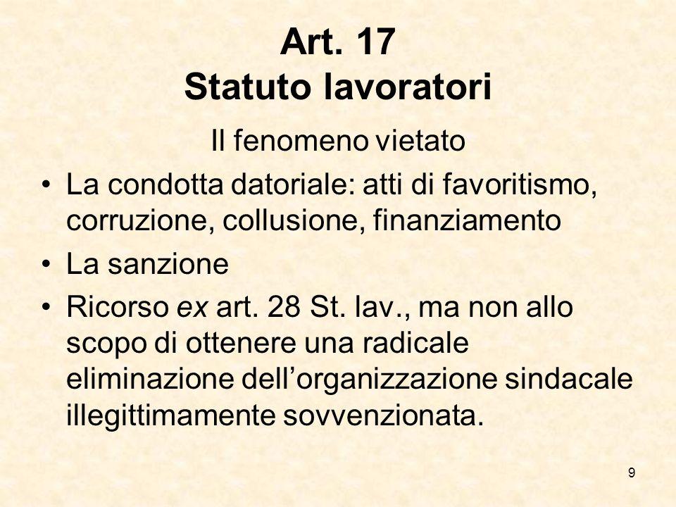 Art. 17 Statuto lavoratori