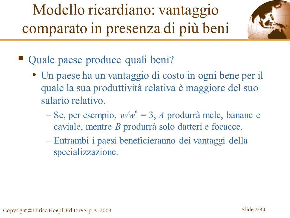 Modello ricardiano: vantaggio comparato in presenza di più beni