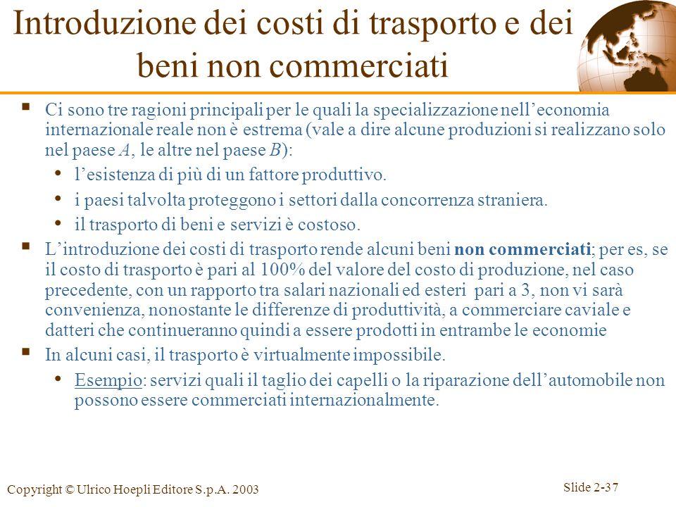 Introduzione dei costi di trasporto e dei beni non commerciati