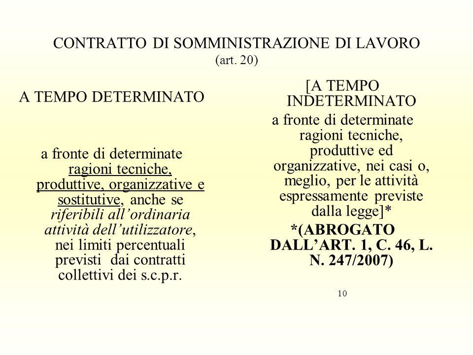 CONTRATTO DI SOMMINISTRAZIONE DI LAVORO (art. 20)