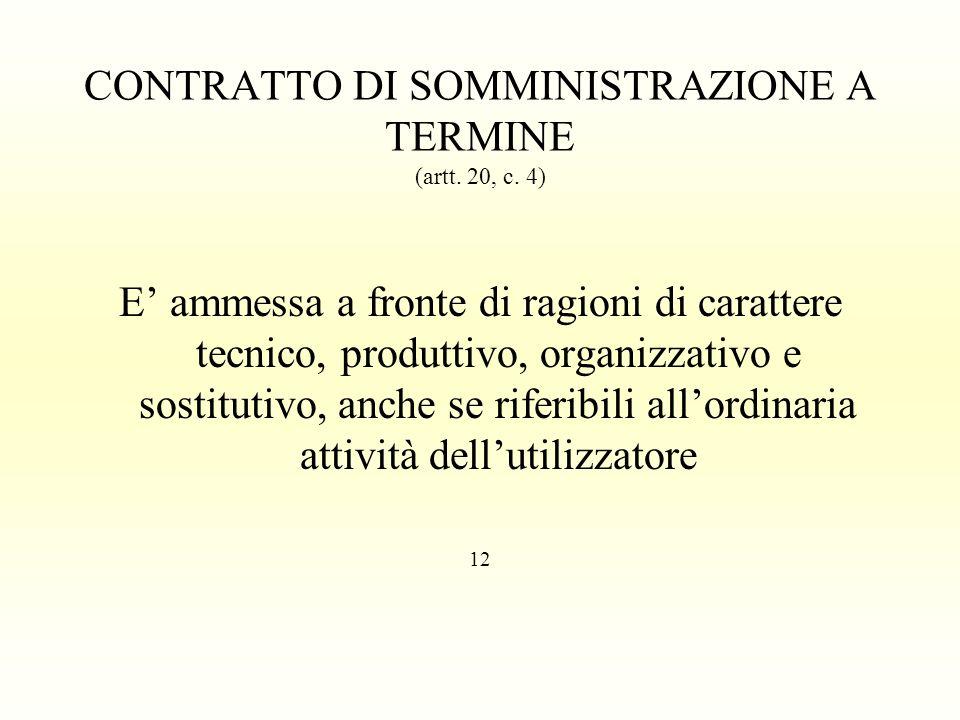 CONTRATTO DI SOMMINISTRAZIONE A TERMINE (artt. 20, c. 4)