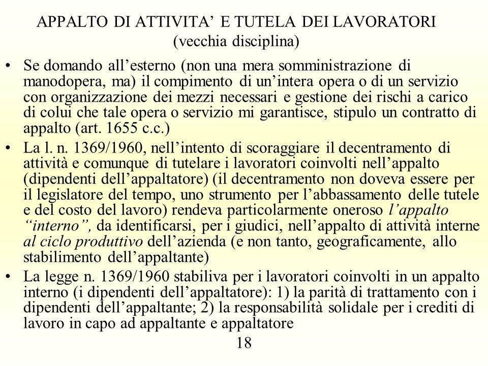 APPALTO DI ATTIVITA' E TUTELA DEI LAVORATORI (vecchia disciplina)