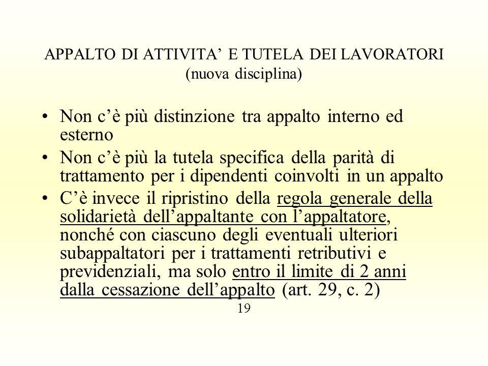 APPALTO DI ATTIVITA' E TUTELA DEI LAVORATORI (nuova disciplina)