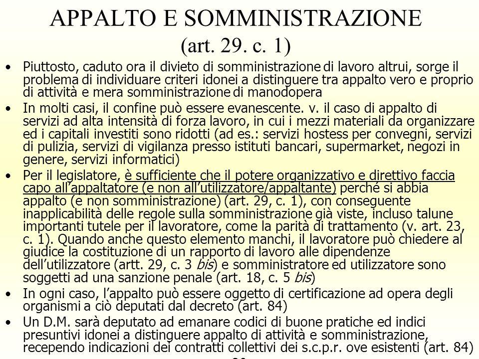 APPALTO E SOMMINISTRAZIONE (art. 29. c. 1)