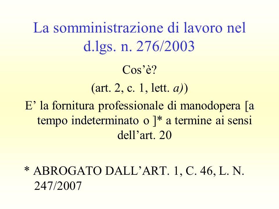 La somministrazione di lavoro nel d.lgs. n. 276/2003