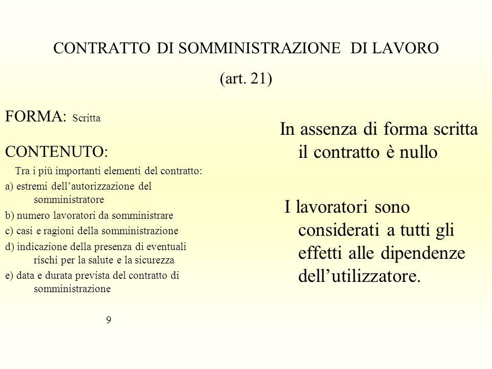 CONTRATTO DI SOMMINISTRAZIONE DI LAVORO (art. 21)