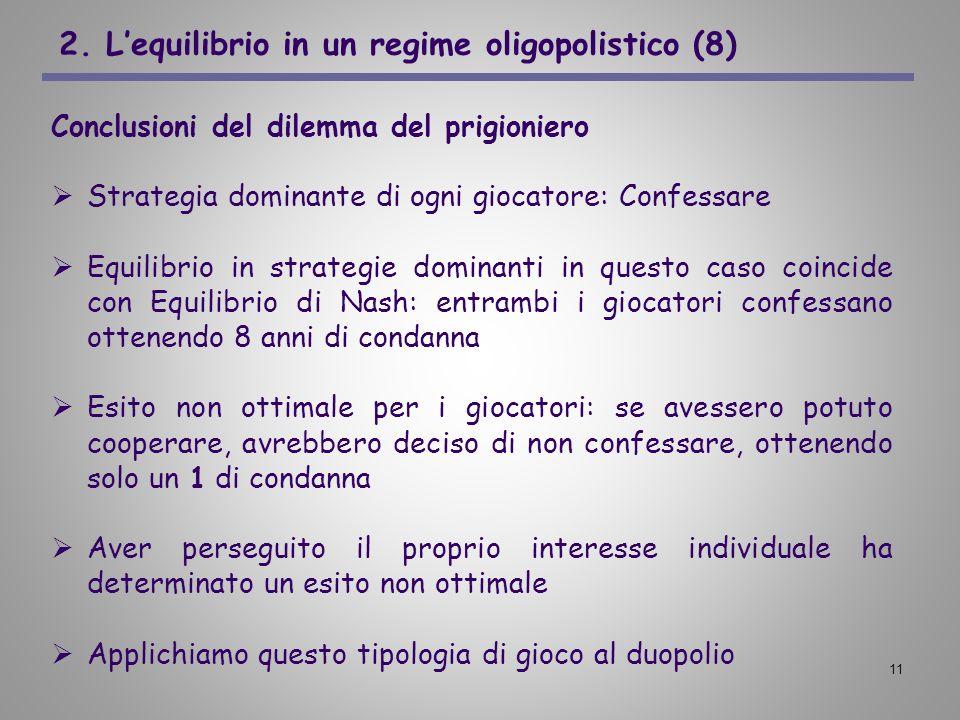 2. L'equilibrio in un regime oligopolistico (8)