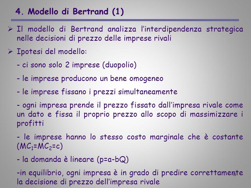 4. Modello di Bertrand (1) Il modello di Bertrand analizza l'interdipendenza strategica nelle decisioni di prezzo delle imprese rivali.