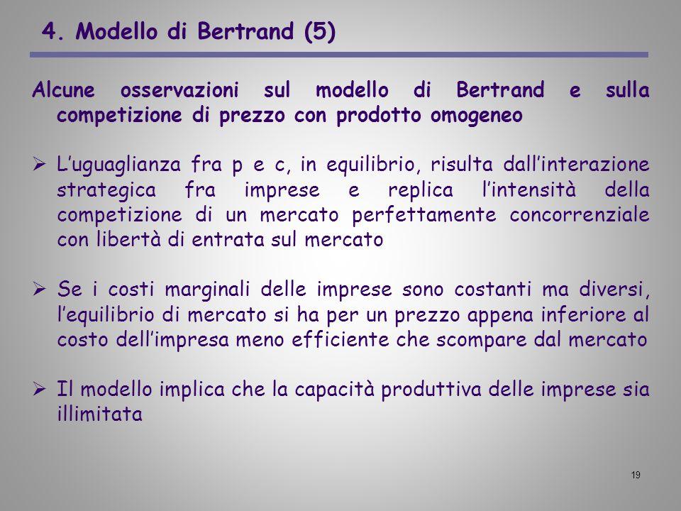 4. Modello di Bertrand (5) Alcune osservazioni sul modello di Bertrand e sulla competizione di prezzo con prodotto omogeneo.