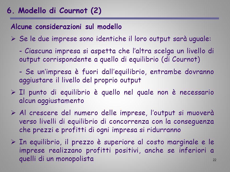 6. Modello di Cournot (2) Alcune considerazioni sul modello