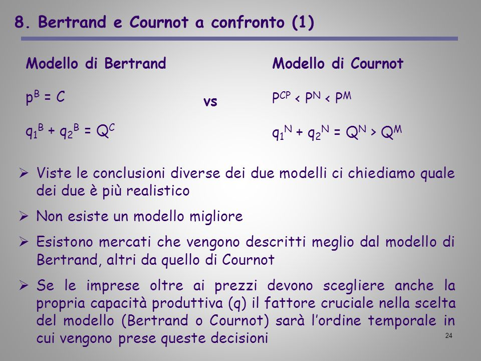 8. Bertrand e Cournot a confronto (1)