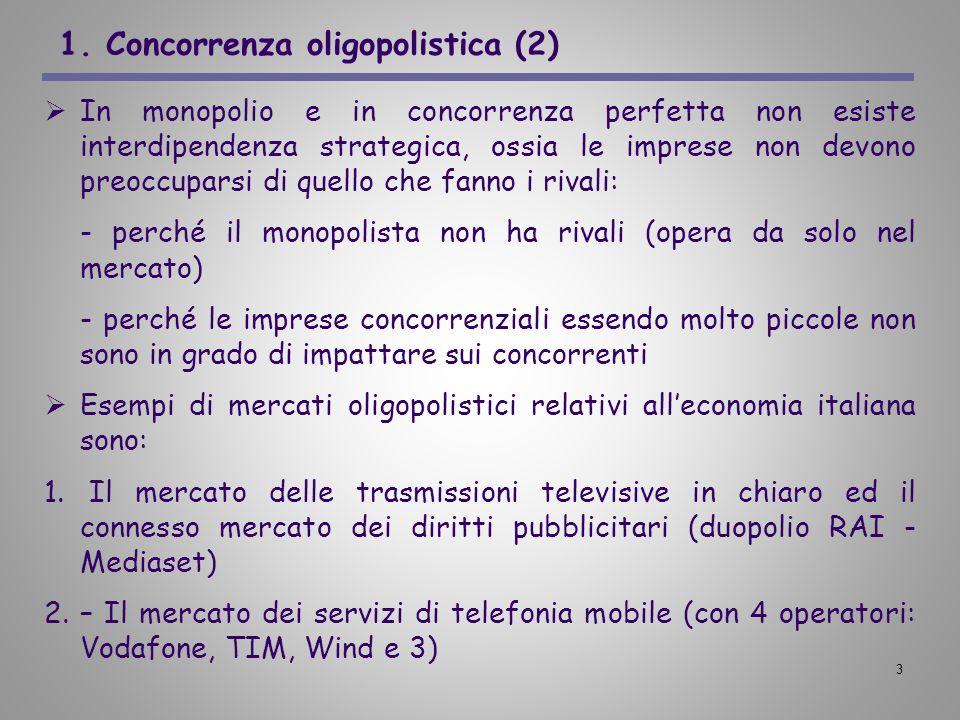 1. Concorrenza oligopolistica (2)
