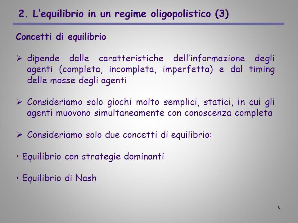 2. L'equilibrio in un regime oligopolistico (3)