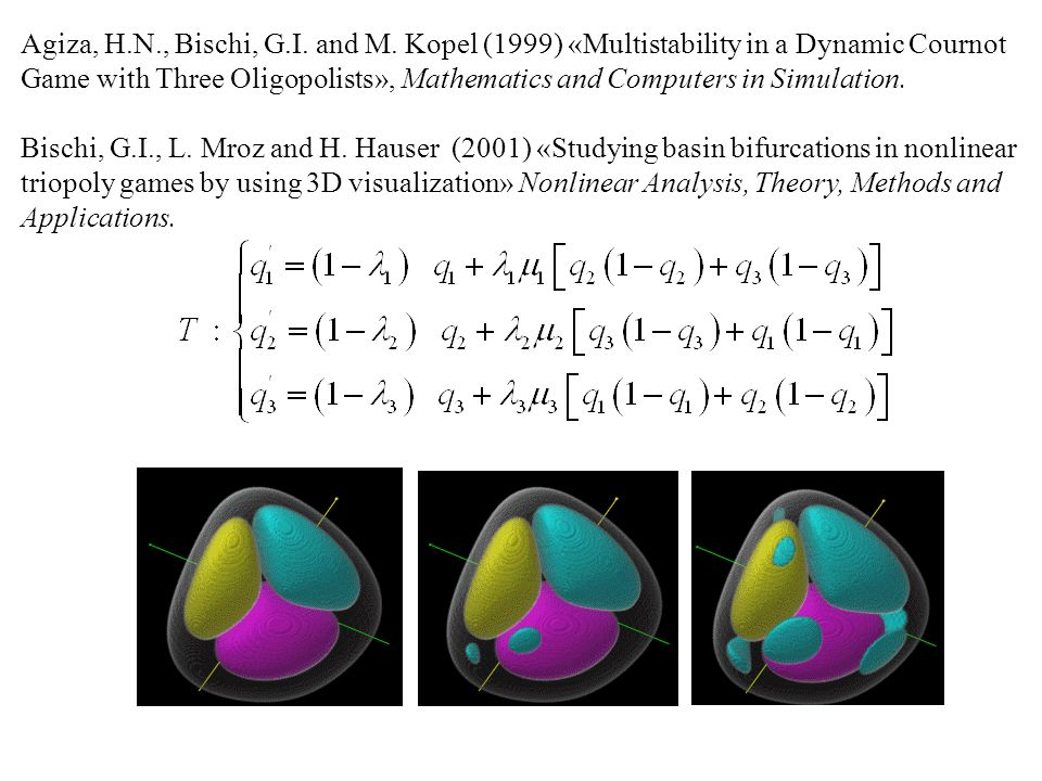 Agiza, H.N., Bischi, G.I. and M. Kopel (1999) «Multistability in a Dynamic Cournot Game with Three Oligopolists», Mathematics and Computers in Simulation.