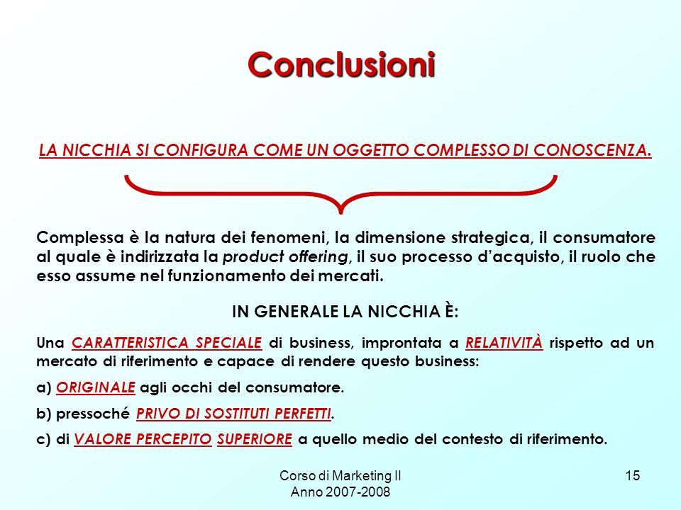 Conclusioni IN GENERALE LA NICCHIA È: