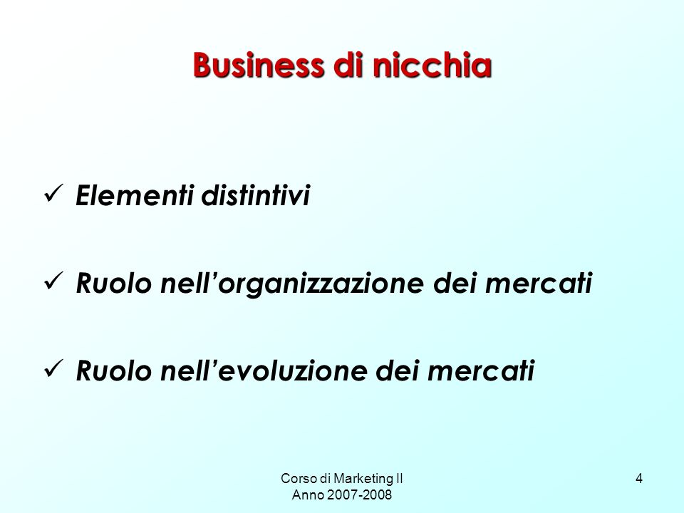 Corso di Marketing II Anno 2007-2008