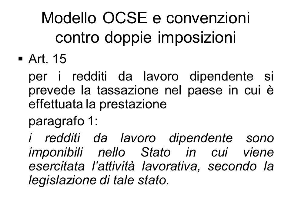 Modello OCSE e convenzioni contro doppie imposizioni