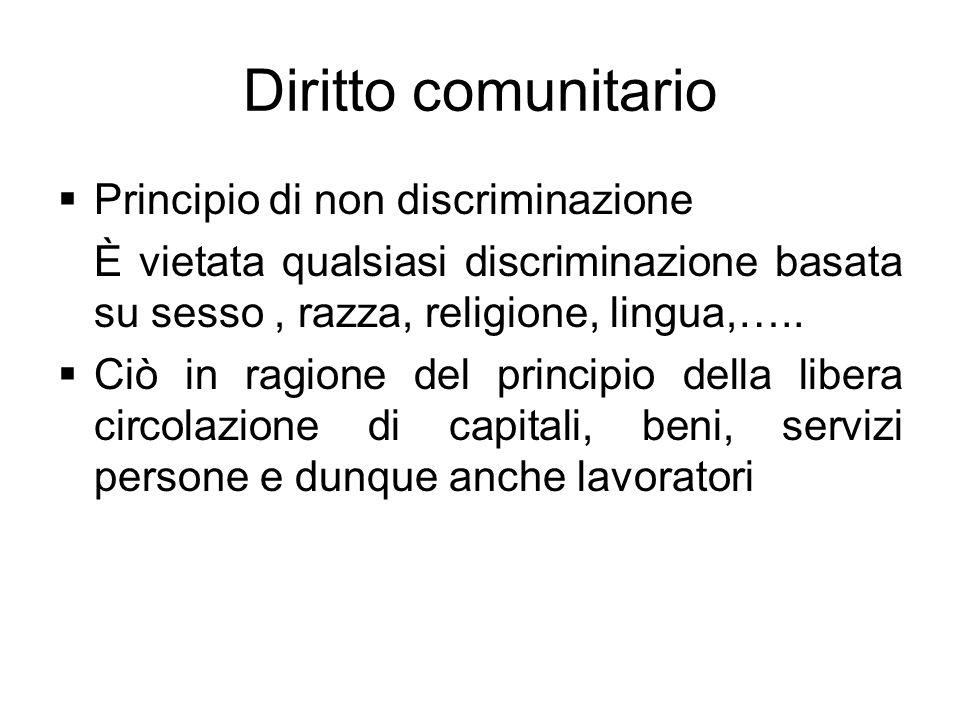 Diritto comunitario Principio di non discriminazione