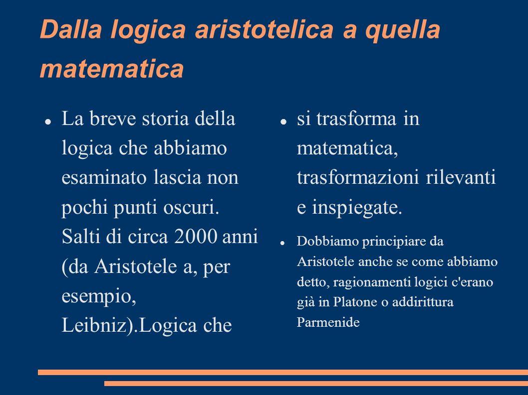 Dalla logica aristotelica a quella matematica