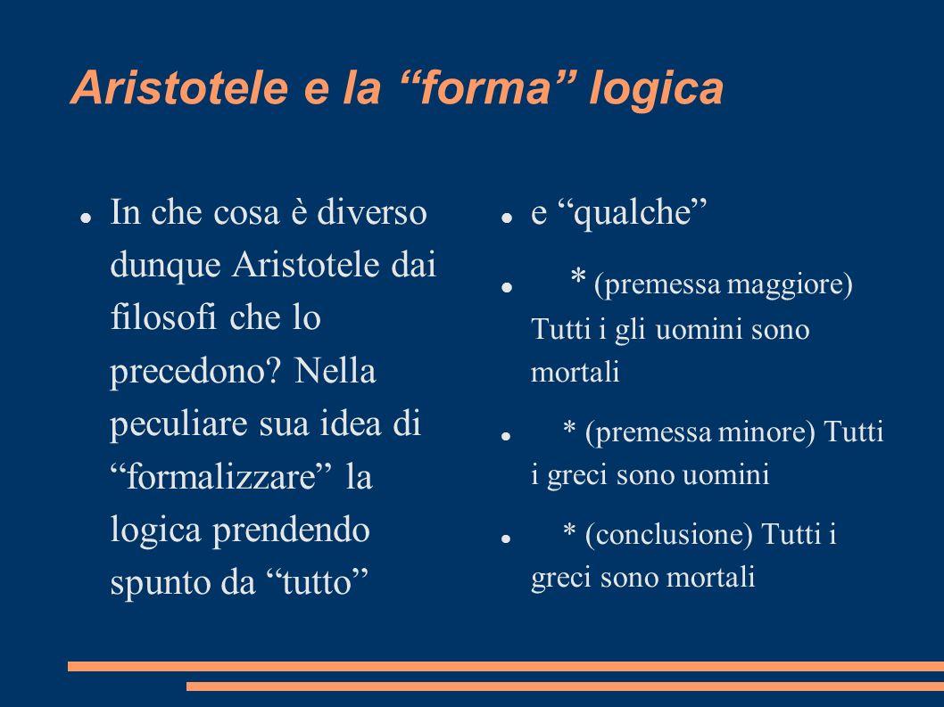 Aristotele e la forma logica