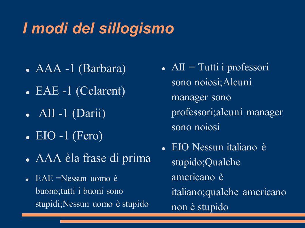 I modi del sillogismo AAA -1 (Barbara) EAE -1 (Celarent)