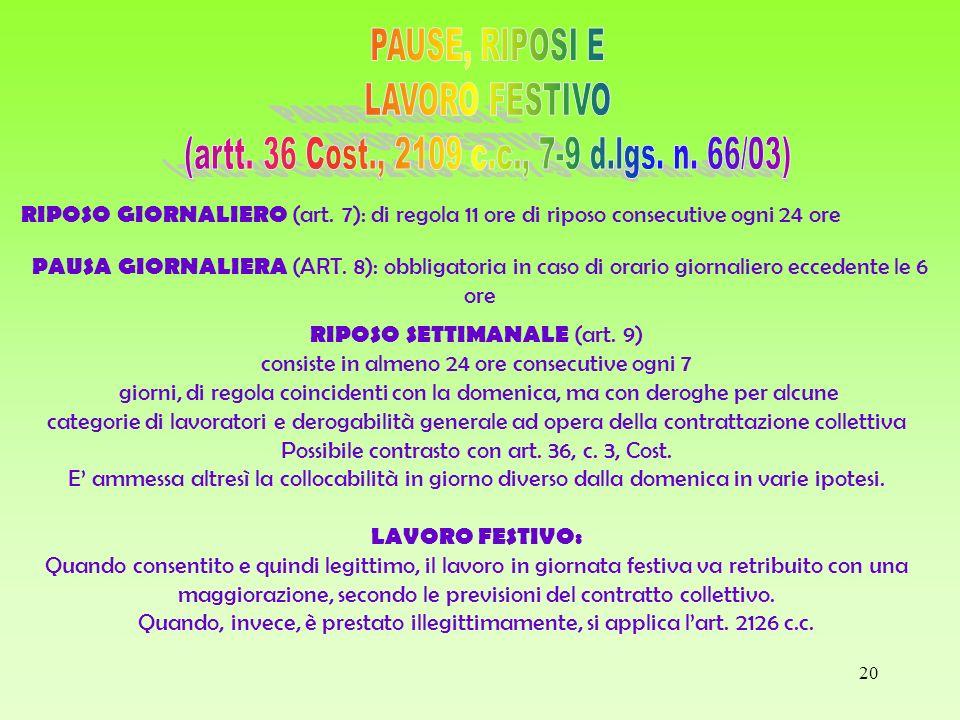 PAUSE, RIPOSI E LAVORO FESTIVO